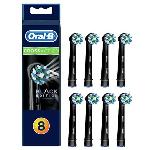 Oral-B CrossAction Cabezales de Recambio, Pack de 8 Recambios Negros Originales con tecnología CleanMaximiser para Cepillos de Dientes Eléctricos