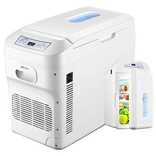 Lyy - 8866 Nevera Neveras Congelador Refrigerador de 28L para Autos con refrigerador y Calentador, Caja portátil para refrigerar, refrigerador eléctrico, Mini congelador para Autos de Viaje, Blanco
