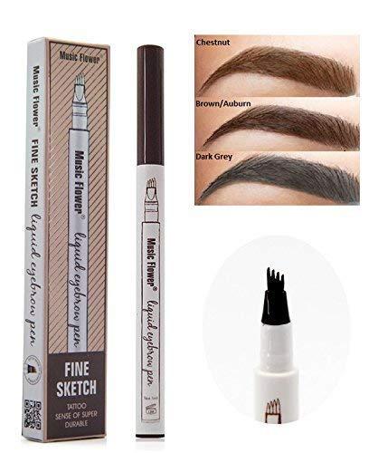 1Microblade Tattoo Pen,Waterproof Ink Gel Tint Four Tips, Long Lasting Hair-Like eybrow best eyebrow filler Microblading 3D Fork Tip - Pack of 1, Dark Grey