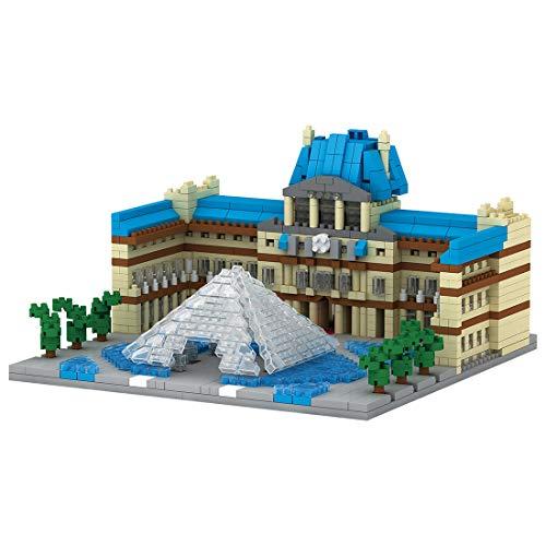 HZYM Architektur Louvre Bausteine, 1392Stücke Nano Mini Blocks Frankreich Architekturmodellbausatz, Architecture Modell Nicht Kompatibel mit Lego