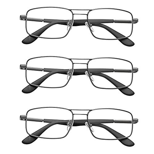 EFE Reading Glasses 3 Pack - Mens Durable Metal Eyeglasses Anti Eyestrain...
