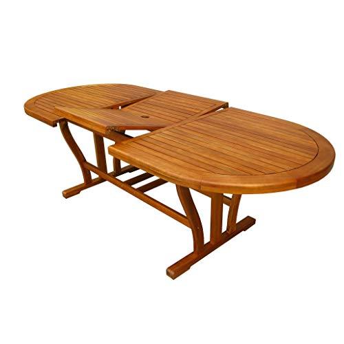 MilaniHome Tavolo Ovale Allungabile in Legno di Acacia 180/240 X 100 per Esterno Giardino Portico Ristorante Bar Hotel Albergo Agriturismo