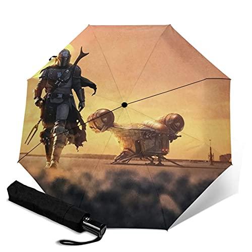 Mandalorian Paraguas automático de tres plegables, ligero y portátil tanto para fines soleados como lluviosos, sombreado al sol y a prueba de rayos UV