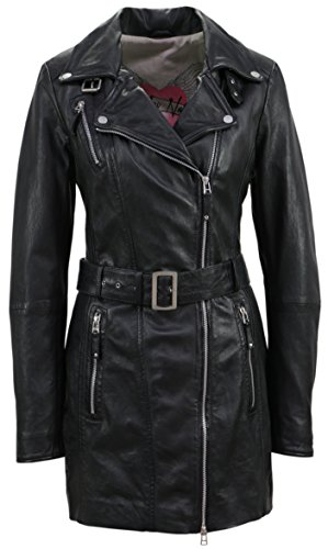 Freaky Nation Damen Jacke Nyc Echtleder,  Schwarz (Shadow 9015),  X-Large