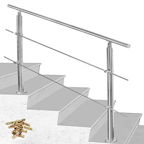 oanzryybz Edelstahl Treppenhandlauf, for Innen Außen Balkon, 2 Traversen, Treppenhandlauf Länge: 80cm / 100cm / 120cm (Size : 100cm)