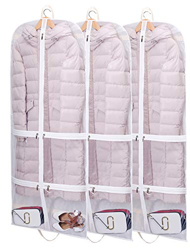 "SLEEPING LAMB 50"" Clear Garment Bags Hanging Clothes Bags for Closet Storage with Pockets for Dresses, Suits, Coats, Costumes, Clothing, 3 Packs, White"