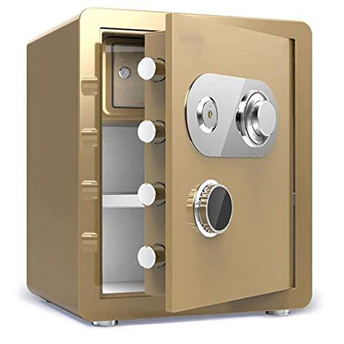 Cajas de seguridad para el hogar Caja fuerte a prueba de fuego a prueba de agua llave mecánica de bloqueo de acero caja de dinero de cajas fuertes de (Negro) Ampliación de Capacidad de la seguridad de