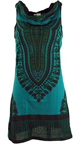 Guru-Shop Kapuzen Dashiki Minikleid, Goa Festivalkleid, Damen, Petrol, Baumwolle, Size:M/L (38/40), Kurze Kleider Alternative Bekleidung