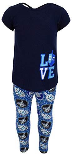 Unique Baby Girls 2 Piece Hanukkah Love Dreidel Outfit Legging Set (4T/M) Blue