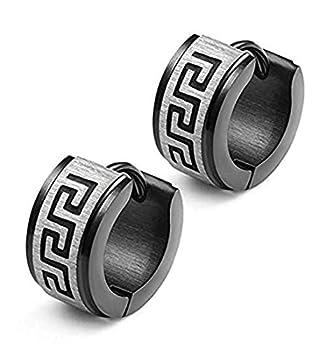 KARAY Stainless Steel Hoop Earrings for Men Women Earrings Unique Greek Key  Black