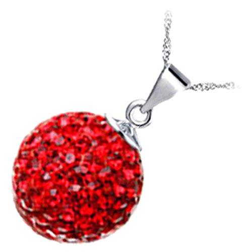 GWG Jewellery Collares Mujer Regalo Collar con Colgante, Chapado en Plata de Ley Bola Embellecida con Cristales Brillantes de Color Rubí Rojo para Mujeres