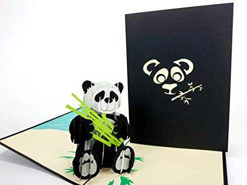 3D Kaarten Azië Dieren Panda Eten Bamboe 3D pop-up Kaart Dier Dierentuin Verjaardagskaart wenskaart Viering Moeders Dag Vader Dag Kids Baby groeten pop-up Kaart