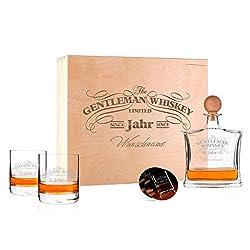 Herz & Heim® Stilvolles Whisky Geschenkset mit gravierter Whiskykaraffe und 2 Gläsern 6tlg.