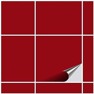 comprar comparacion FoLIESEN Adhesivo para Azulejos para baño y Cocina – 15 x 15 cm – Rojo Oscuro Brillante – 120 Adhesivos para Azulejos de P...