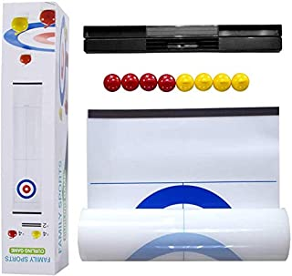 Indoor Curling Games Family Fun-Tabletop Mini Curling with 8 Rolllers Gifts for Kids and Adults Travel Compact Storage
