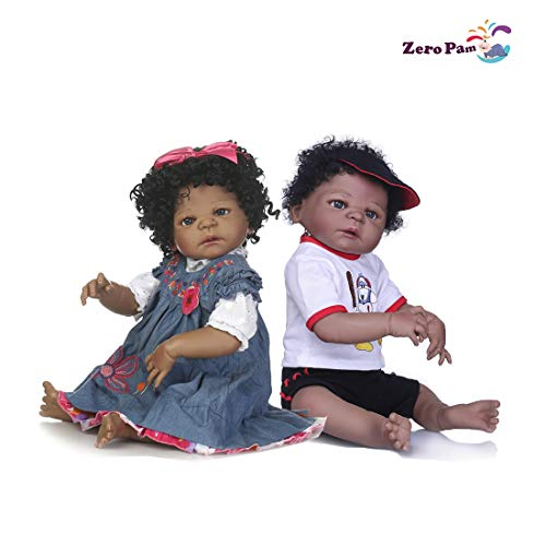 Lullaby 23 Inch Baby Reborn Dolls Twins Boy&Girl Full Body Silicone African American Black Reborn Toddler Twins Lifelike Looking