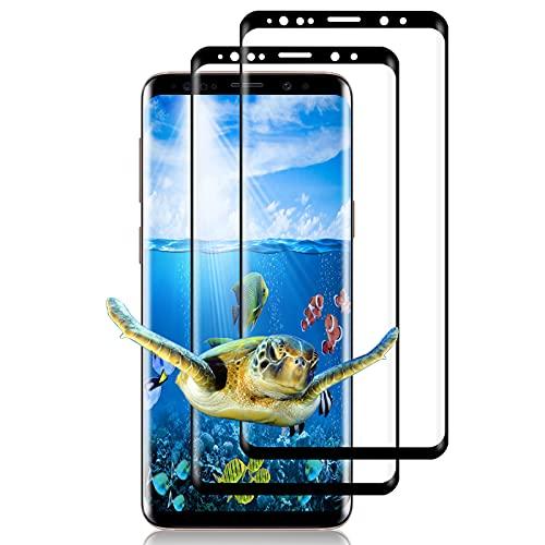 [2 pezzi] Vetro temperato per Samsung Galaxy S9, [3D Full Cover] Vetro temperato, Durezza 9H, Anti-bolle, HD trasparente, Pellicola protettiva in vetro temperato per Samsung Galaxy S9 - Nero