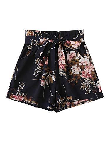 Milumia Women Boho Shorts Elastic Waist Loose Fit Casual Belted Wide Leg Shorts Navy X-Large