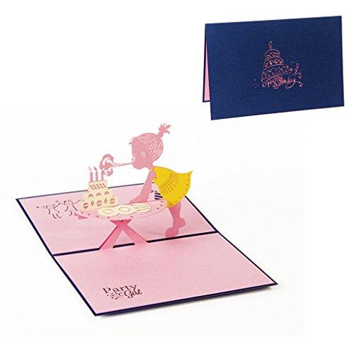Ncbvixsw 3D Pop-Up Karte, Girl Geburtstag Grußkarte, Weihnachten Valentine Einladung