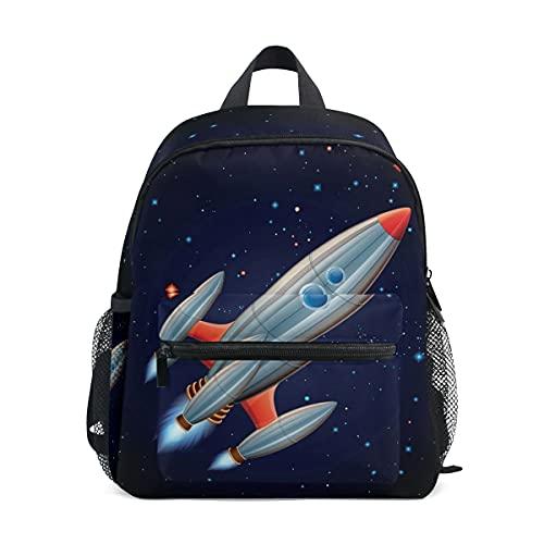 Mochilas para niños y niñas cohete en el espacio exterior bolsa preescolar con correa para el pecho