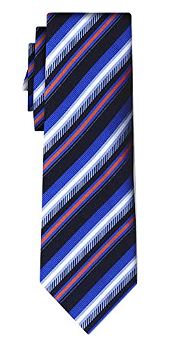 Cravate soie rayée tex stripe blue navy w org wht
