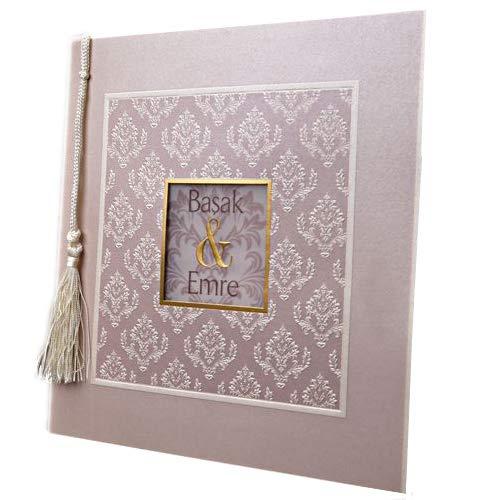 Weddix Orientalische Einladungskarte Kassia in Flieder mit Ornamenten und Zierkordel