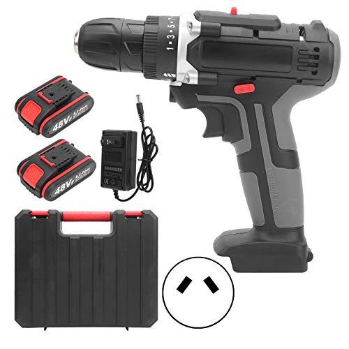 Taladro atornillador inalámbrico Juego de destornilladores eléctricos Taladro de impacto de 2 velocidades para el hogar con 2 baterías recargables de 48 V y caja de herramientas(Regulador británico)