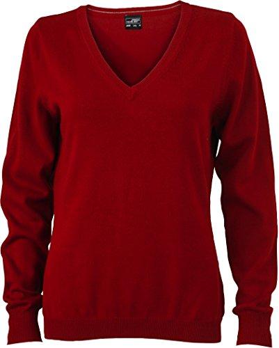 Ladies' V-Neck Pullover - taillierter Damen V-Neck Pullover XL,Bordeaux