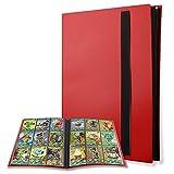 Moocuca Álbum de para Cartas, Capacidad 360 Álbum de Tarjetas, 20 Paginas Álbum Bolsillos para Cartas Coleccionables, Carpeta Cartas para Ejemplo para MTG Magic, Pokemon, Yu-Gi-Oh (Rojo)