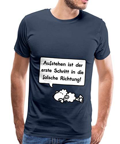 Sheepworld Aufstehen Schritt In Die Falsche Richtung Männer Premium T-Shirt, XL, Navy