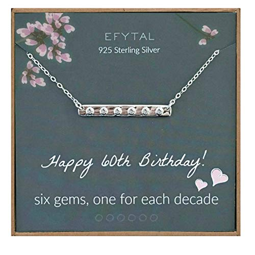 Image of the EFYTAL 60th Birthday Gifts for Women, 925 Sterling Silver Six CZ Bar Necklace For Her, 6 Decade Jewelry 60 Years Old
