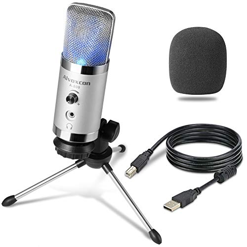 Price comparison product image USB Microphone -Alvoxcon Computer Mic with Headphone Monitor Jack for Mac & Windows PC,  Laptop,  Podcasting,  Studio Recording,  Steaming,  Twitch,  Voiceover,  PS4 Gaming,  YouTube Video