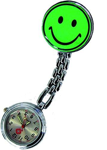Hermana Reloj (2unidades = 2pieza.) Smiley verde con clip Bata Reloj Enfermera Reloj Original de Tiga Med Calidad