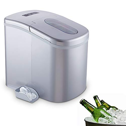 YONGTONG Ice Maker, Countertop Automatic Portable Icemaker Machine, Producing 26Lbs(12Kg) per Day, with 2 Selectable Cube Sizes, with Easy-Touch Buttons, 2.2L(2.3QT) Capacity (Silver)