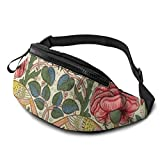 XCNGG Bolso de la cintura del ocio bolso que acampa bolso del montañismo Vintage Rose Fanny Packs for Women and Men Waist Bag Adjustable Belt for Outdoors Workout,Traveling,Casual Running,Hiking,Cycli