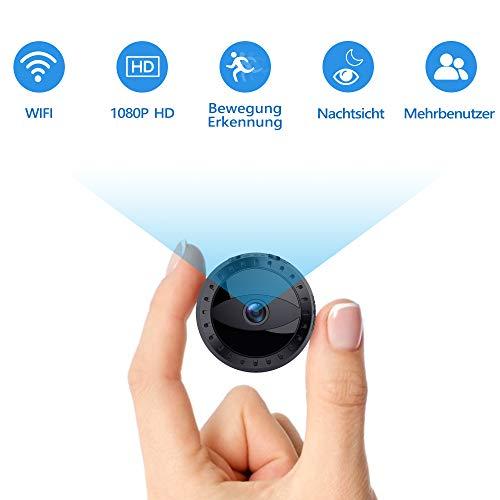 Mini Kamera WiFi, FHD 1080P Kleine Überwachungskamera, Mini Cam mit Bewegungserkennung und Infrarot Nachtsicht, Sicherheit Kamera für Innen und Aussen