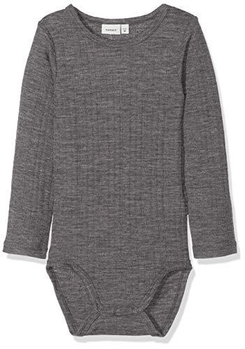 NAME IT Baby-Jungen NBMWANG Wool Needle LS Body NOOS Strampler, Grau (Dark Grey Melange Dark Grey Melange), 56