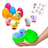 Large Surprise Eggs Filled 6 Pack Easter Eggs with Wind-Up Novelty Jumping Chics and Animal Stickers, Colorful Pre Plastic Easter Eggs For Kids Easter Basket Gifts Easter Basket Stuffers Fillers