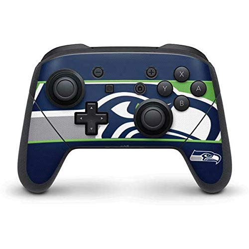 Skinit Decal Gaming Skin Compatible with Nintendo Switch Pro Controller - Officially Licensed NFL Seattle Seahawks Zone Block Design