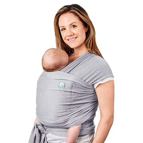 Trekki Tragetuch Baby, Babytragetuch Neugeborene, elastisches Baumwolle Sling - mit großen Vordertasche (Grau)