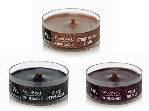 Virginia Gift Brands WoodWick Amber Sandalwood Petite Candle Bundle - 3 Items: Black Peppercorn, Stone Washed Suede, and Velvet Tobacco 1.1 oz Candles