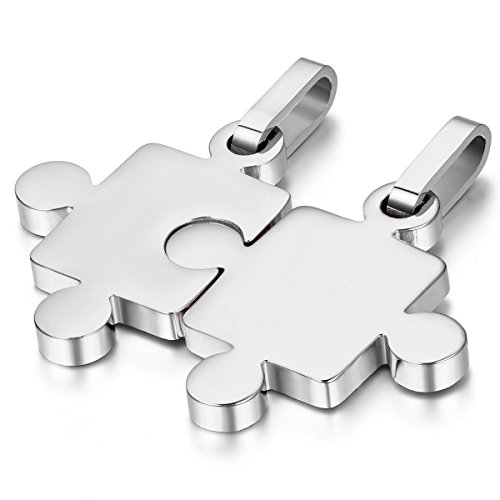 JewelryWe Schmuck 2 Freundschaftsketten Puzzle Love Edelstahl Partner-Anhänger mit 45cm und 55cm Kette, Halskette für Damen & Herren, Silber - kostenlos Gravur