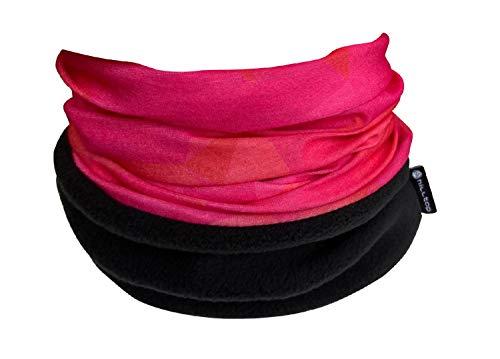 WÄRMENDES FLEECE Multifunktionstuch Polar Schlauchtuch das Halstuch für kalte Herbst und Wintertage. aktuelle Farben, Farbe Polar Tuch:pink-rot mit schwarzem fleece