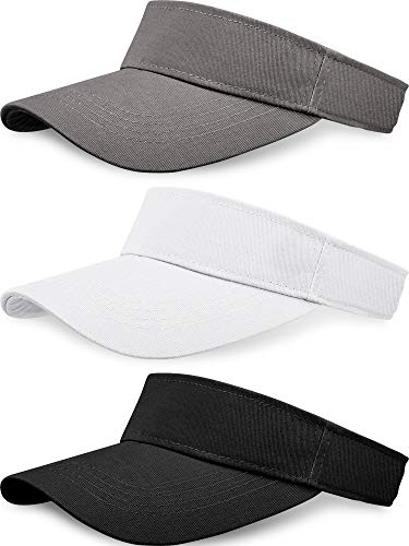 3 Pieces Sun Sports Visor Hats One Size Adjustable Cap for Women and Men (Black, White, Grey)