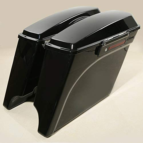 XFMT 5' Black Stretched Hard Saddlebags W/Latchs Keys Compatible with Harley Touring Model 1993-2013