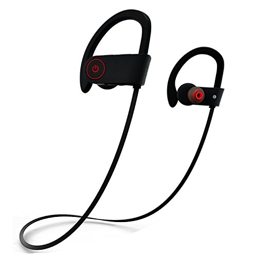 Best Bluetooth Headphones -Sport Wireless Earbuds - Handsfree Mic - Waterproof & Sweatproof for Workout Running - Noise Cancelling - With USB Recharging Cable- Deep Bass - Easy Sync Android and iPhone
