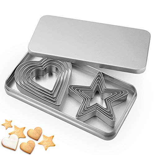 10Pcs Star and Love Heart Biscuit Cutters Stainless Steel with Storage Box
