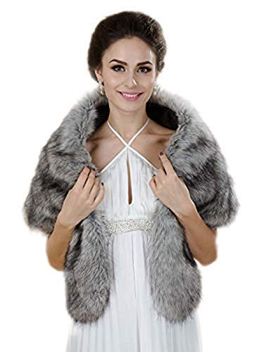Aukmla Gray Sleeveless Faux Fur Bride Bridesmaids Shawl Wrap Wedding Cover Up Winter Wedding Cape