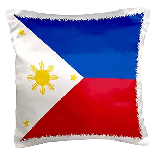 3dRose PC 159807_ 1Flagge der Philippinen philippinisch blau rot weiß mit Golden Gelb Sonne & Sterne pambansang watawat Kissen Fall, 40,6x 40,6cm