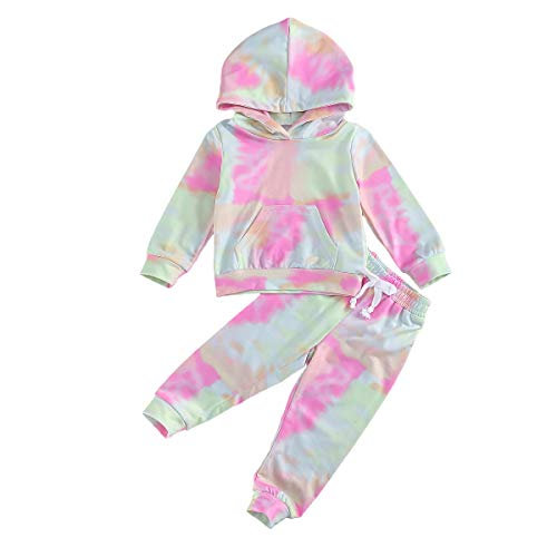 Toddler Baby Girl Boy Tie Dye Clothes Hoodie Long Sleeve Sweatshirt Top Drawstring Pants 2PCS Fall Winter Outfit Set (Tye Die Yellow+Pink, 5-6 T)